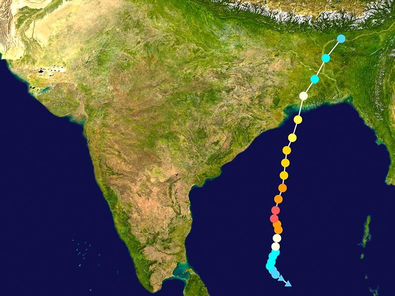 Trajectoire et intensité du cyclone Amphan sur le Bengale occidental et le Bangladesh